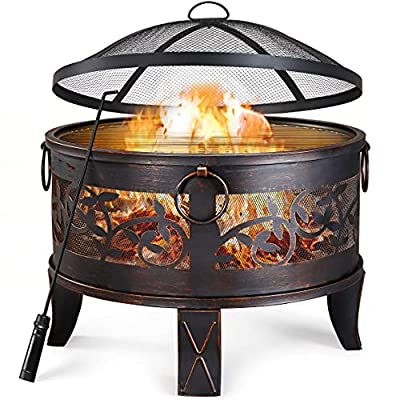 Yaheetech Outdoor Fire Pit Portable Deep Fire Bowl Heater with BBQ Grill & Spark Guard & Poker for Heating BBQ in Garden/Yard/Patio, Bronze Dia:66.5cm from Yaheetech