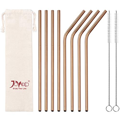 JOYECO 8 Pcs Reusable Metal Stainless Steel Drinking Straws with Travel Case, FDA Standard Straw 8.5 inches for 20 oz Tumblers Rumblers, Rose Copper