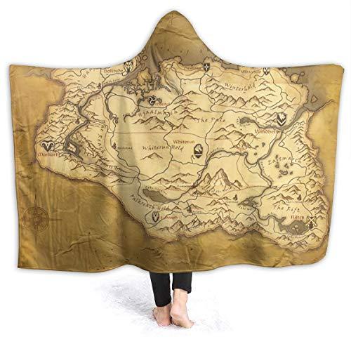 Baulred Skyrim Decke mit abgenutzter Pergamentkarte, superweich, mit Kapuze, 152,4 x 127,7 cm, für Erwachsene, Umhang für Studing