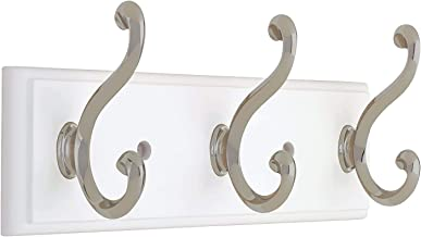 129854 Coat Rack, 10-Inch, Wall Mounted Coat Rack with 3 Decorative Hooks, Satin Nickel and White