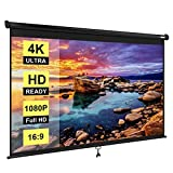 VIVOHOME 100 Inch Manual Pull Down Projector Screen, 16:9 HD Retractable Widescreen for Movie Home Theater Cinema Office Video Game, Black (Renewed)