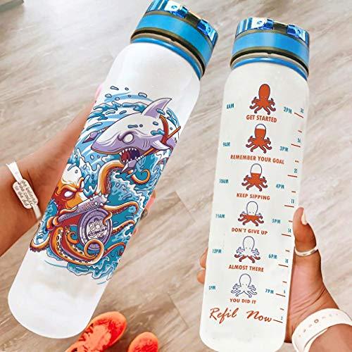 O5KFD&8 Botella de agua grande Shark Octopus antigoteo, botella reutilizable adecuada para camping, color blanco, 1000 ml