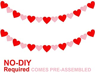 12.4' Long Valentine's Day Red Pink Heart Garlands Party Garlands Decoration Felt Hearts Banner Garland Backdrop Background Strings for Kids Wedding Birthday Baby Bridal Shower Classroom