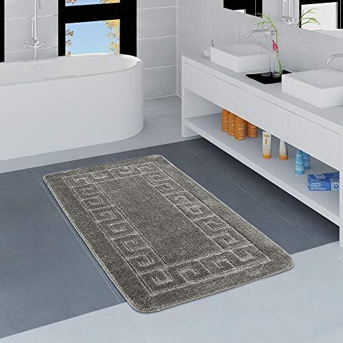 Paco Home Moderner Badezimmer Teppich Bordüre Badvorleger rutschfest Badematte In Grau, Grösse:80x150 cm