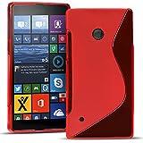 Conie SC26766 S Line Hülle Kompatibel mit Nokia Lumia 530, TPU Smartphone Hülle Transparent Matt rutschfeste Oberfläche für Lumia 530 Rückseite Design Rot