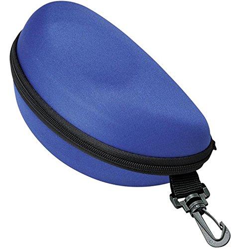 メガネケース ウレタン セミ ハードケース サングラス 大きめフレーム用 (ファスナー式 フック付き) ブルー 2282-02