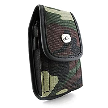 Motorola Droid X X2 RAZR Bionic Camouflage Holster NEM Nylon Canvas Camouflage Vertical Carrying Case Pouch with Metal Belt Clip Fits for Motorola Droid X/X2/RAZR M/Bionic + OtterBox/Lifeproof Case
