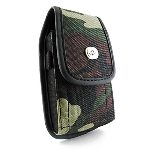 Motorola Droid X X2 RAZR Bionic Camouflage Holster, NEM Nylon Canvas Camouflage Vertical Carrying Case Pouch with Metal Belt Clip Fits for Motorola Droid X/X2/RAZR M/Bionic + OtterBox/Lifeproof Case