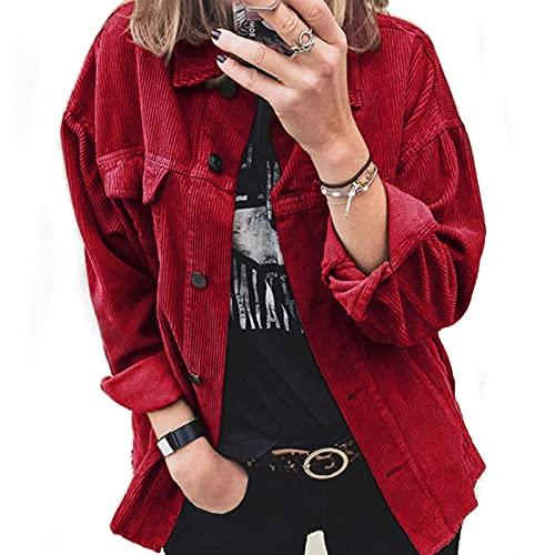 Damen Vintage Cordjacke Herbst Lässige Jacke mit Knopf Revers Langarm Outwear Kord Loose Jacket Mantel Coat S M L XL XXL 3XL (Rot, XX-Large)