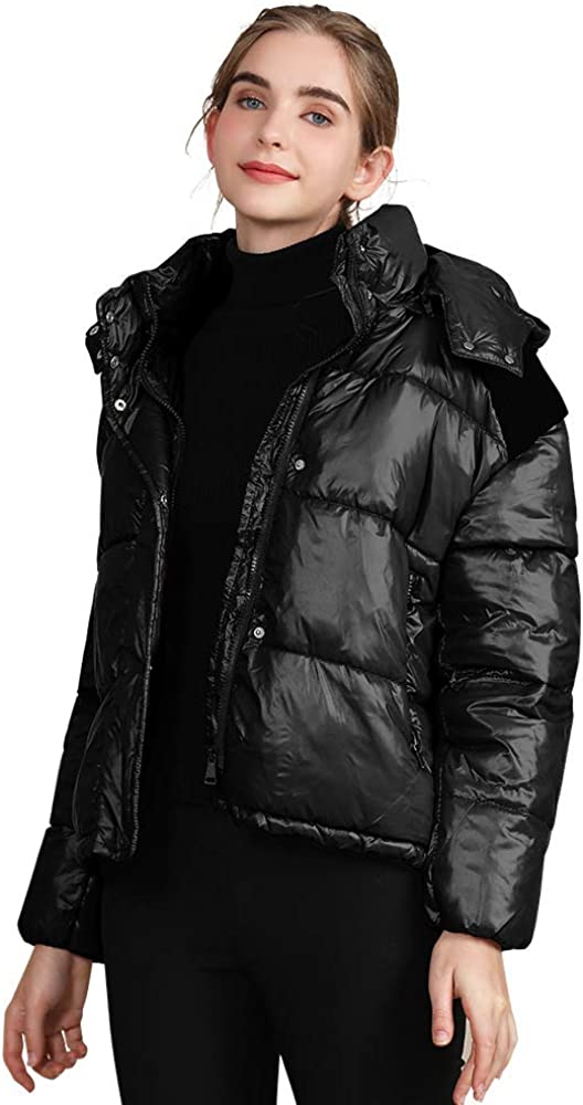 Womens Short Puffer Jacket with Hood, Casual Plus Size Quilted Parka Jacket Down Cotton Padded Shiny Coat Outwear