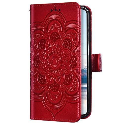 Uposao Kompatibel mit Galaxy Note 10 Handyhülle Mandala Blumen Muster Handy Schutzhülle Ledertasche Flip Case Handytasche Wallet Hülle Bookstyle Klappbar Lederhülle Magnetisch,Rot