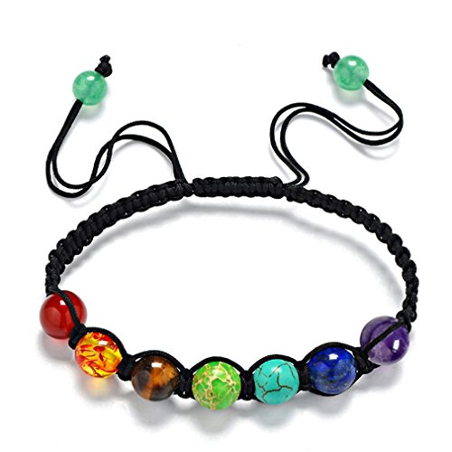 Yesiidor 7 Chakra Bracelet Reiki Rainbow Quartz Bracelet Beads Bracelet Accessories Hand Necklace Jewelry