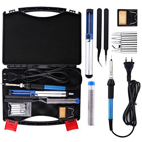Housolution Soldador Electrónica de Estaño - 60W 220V Kit de Soldador Eléctrico con Plancha de Soldadura de Temperatura Ajustable DIY kit con 5pcs puntas, Bomba Desoldadora, Soporte, Pinzas - Negro