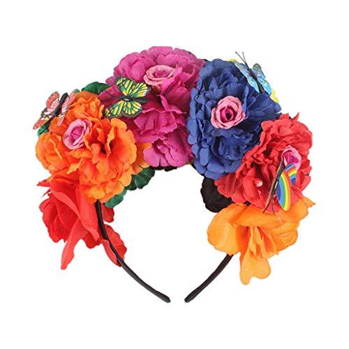 Diadema de flores de peona de Halloween con diseo de mariposa de hadas y corona mexicana Cosplay Da de los Muertos