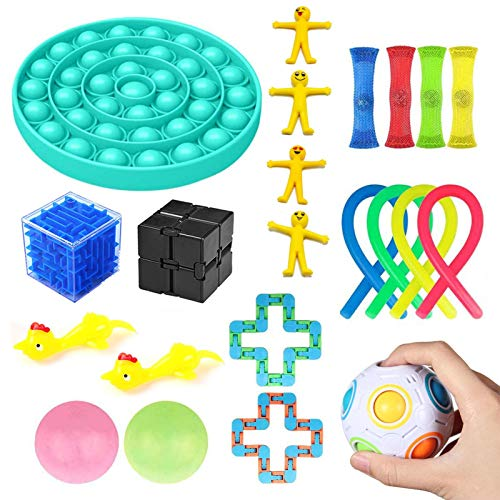 22PCS Sensory Fidget Fingerspielzeug Set, Twist and Wrap Hand Squeeze Spinner Sensorisches Spielzeugset Für Autismus, ADHS, Angst, Stressabbau Zappelspielzeug Für Kinder Und Erwachsene