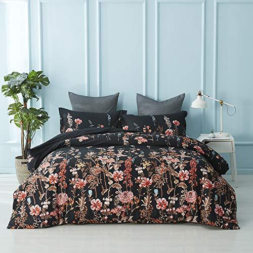 Fansu Bettwäsche Set 3 teilig, Elegant Blume Bedrucktes Atmungsaktiv Microfaser Bettwäsche Set Kopfkissenbezug Bettbezug mit Reißverschluss Schließung (200x200cm,Schwarz rot)