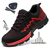 HOAPL Zapatos de los Hombres, de Trabajo Antideslizante Use Zapatos de Punta de Acero Fit Zapatos Resistentes,38