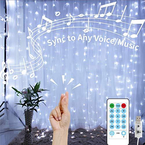 Tenda Luminosa con Telecomando musicale 3 x 3m 300LED 8 Modalità Impermeabile, Tenda Luci Natale Lucine Decorative per Casa, Balcone, Salotto, Giardino,Terrazza