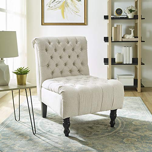 Classic Brands Aerial Upholstered Armless Solid Hardwood Slipper Accent Chair, Shell