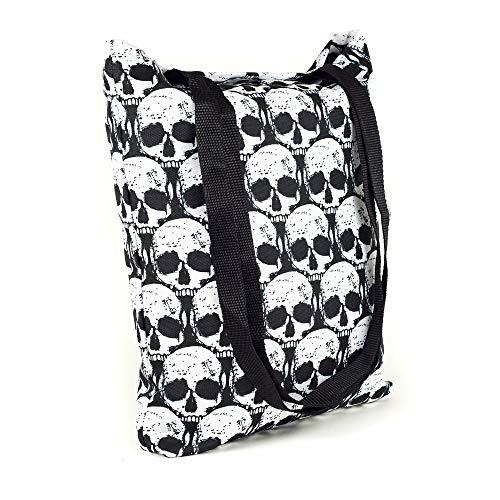 LimeWorks Einkaufstasche Schultertasche Beutel Tragetasche - Motiv Totenkopf-Muster Skull Schädel - gefüttert