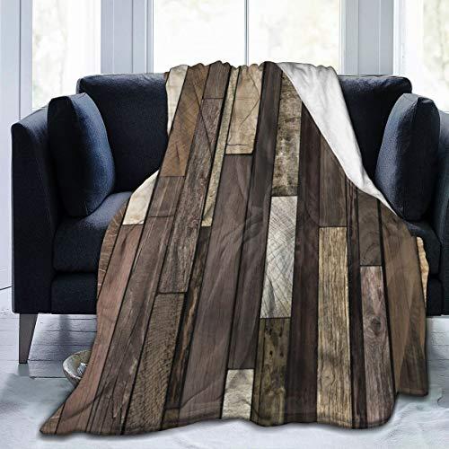 Nongmei Manta de Franela con patrón Personalizado,Rústico de Madera,Manta de Felpa Suave y cómoda 60'x80'