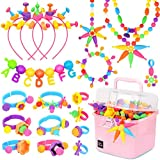 Victostar Pop Beads,DIY Jewelry Making Kit -Arts and Crafts Toys Gifts for Kids Age 3yr-8yr,600 PCS Pop Snap Beads Set Making Necklace, Bracelet, Hairband and Ring Creativity Toys for Girls Boys