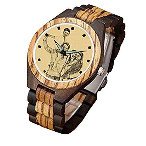 Reloj de Madera Personalizado para Hombres Impresión fotográfica en la Cara del Reloj Regalo Personalizado(Marrón Oscuro 1.42in (36 mm) -Mujeres)