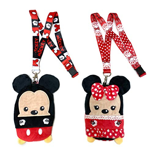 Disney Lanyards with ID Holder and Zip Pouch- Mickey and Minnie Mouse Plush Lanyards for Kids and Adults - Perfect for Disney Cruise, Disney World Accessories and Keychain - 2 Pack