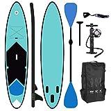 ToCi Tabla de surf de remo XL azul | 320 x 76 x 15 cm hinchable | con mochila de transporte y remo telescópico doble de aluminio | Incluye bomba de 2 vías