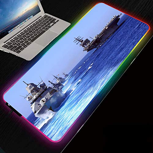 Naval Warship RGB Mouse Pads Led Gaming Glowing Mat with for Computer Keyboard Mice Pads 700x300x4 mm