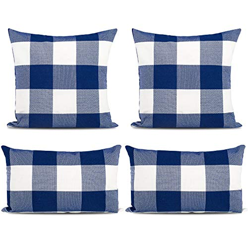 Whaline 4 Pieces Blue White Buffalo Check Plaid Pillow Cases, Christmas Plaid Cushion Covers, Cotton Linen Sofa Bed Throw Cushion Cover Decoration(18'' x 18'', 12'' x 20'')