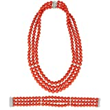 Photo Gallery gioiello italiano - parure in corallo rosso di torre del greco, oro bianco 18kt e diamanti, da donna, collana e bracciale
