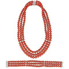 Idea Regalo - Gioiello Italiano - Parure in corallo rosso di Torre del Greco, oro bianco 18kt e diamanti, da donna, collana e bracciale