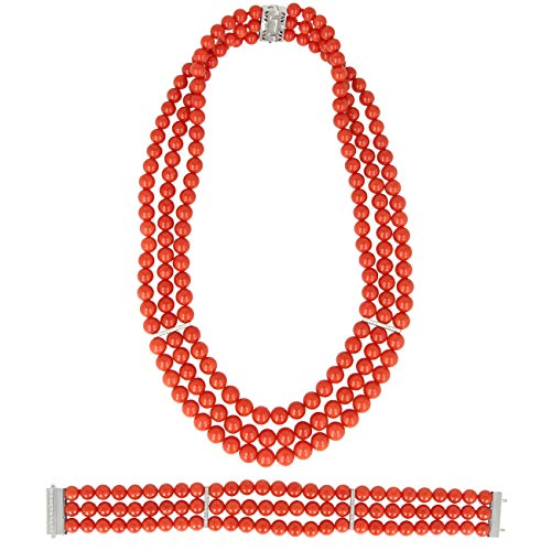 Gioiello Italiano - Parure in Corallo Rosso di Torre del Greco, Oro Bianco 18kt e Diamanti, da Donna, Collana e Bracciale