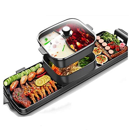 Fikujap Integrierte Hot Pot Grill, Elektro Smokeless Grill, Antihaft-Beschichtung, Separate Dual-Temperatur BBQ Grill, für Heim