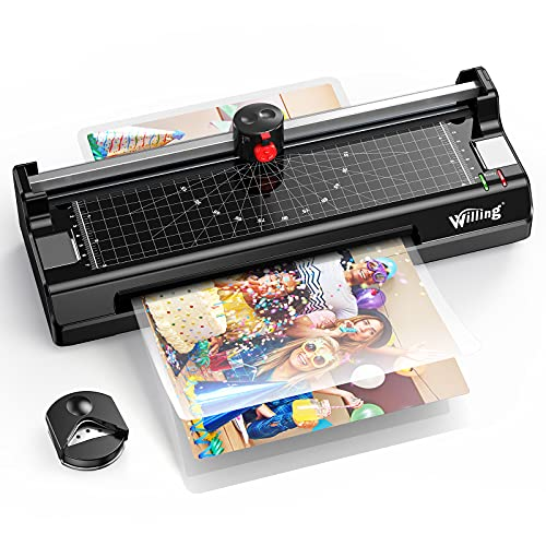 Laminator Machine, A4 Thermal Laminator with 15 Pouches, Paper Trimmer, Corner Rounder, 9 Inch Hot & Cold Personal Laminator for Home/School/Office