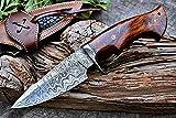 Custom Handmade Hunting Knife Bushcraft Knife Damascus Steel Survival Knife EDC 10'' Overall Walnut Wood With Sheath