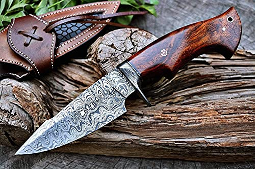 Custom Handmade Hunting Knife Bushcraft Knife Damascus Steel Survival Knife EDC 10'' Overall Walnut...