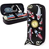 Estuche Lápices Asian Thai Koi Fish Painting PU Leather Pouch Storage Bags Portable Student Pencil Office Stationery Bag Zipper Wallets Makeup Multi-Function Bag