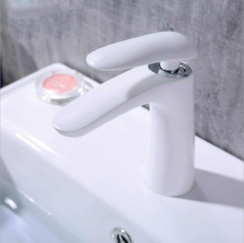 GONGFF Waschtischarmaturen Wasserhahn Hotel Home Bad Wei lackiert einzigen Wasserhahn Entenschnabel Griff Hot \u0026 Cold Copper Waschbecken Mischbatterie Waschbecken Wasserhahn Single-Link