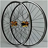 KZEE Mountain Bike Wheelset 26 Inch, Double Wall Aluminum Alloy Disc/V-Brake Cycling Bicycle Wheels 32 Hole Rim 7/8/9/10 Cassette Wheels (Color : Yellow, Size : 26inch)