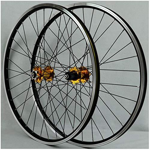 HWL Ruedas de Bicicleta Montaña 26 Pulgadas, Disco/V-Brake Double Wall Aleación Aluminio Ruedas Ciclismo Borde de 32 Orificios 7/8/9/10 Cassette (Color : Yellow, Size : 26inch)