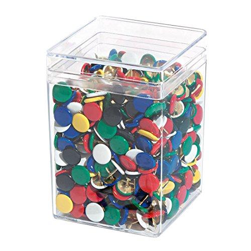 Wedo 9085675099 Reißnägel (Kopfdurchmesser 10 mm, undurchdrückbar überkapselt) 750 Stück, farbig sortiert