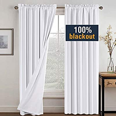 H.VERSAILTEX 100% Blackout Curtains for Bedroom Window Treatment Curtain Thermal Insulated Curtains for Living Room Rod Pocket Drapes White Backing, 2 Panels with 2 Tie-Backs, 52 x 84 Inch, White