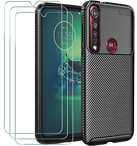iVoler Cover per Motorola Moto G8 Plus + 3 Pezzi Pellicola Vetro Temperato, Fibra di Carbonio Custodia Protezione in Morbida Silicone TPU Anti-Graffio e Antiurto Protettiva Case - Nero