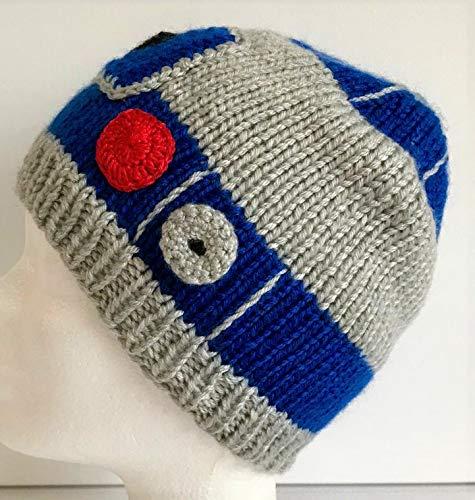Handgestrickte Kinder Mütze R2D2 Star Wars Kopfumfang 52-54 cm