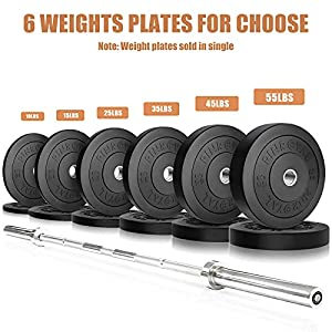 PINROYAL Bumper Plates 15LB Set, Olympic Weight Plates with 2 inch Stainless Steel Hub, Rubber Barbell Weights to Protect Floor, Smooth Strength Training Plates to Protect Bar from Scratches, Pair