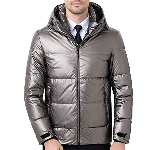 LYDK Invierno Brillante Abajo Chaqueta, Hombres Con Capucha Corto Moda Casual Guapo Abrigo de Cuero (S-3XL) plata gris-S