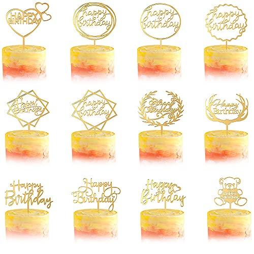 12 Stück Happy Birthday Tortendeko Geburtstag, Kuchendeko Geburtstagsdeko Cake Torten Kuchen Topper, Gold Acryl Cupcake Tortenstecker für Mädchen Junge Mann Frau Kinder Geburtstag Taufe Party Deko