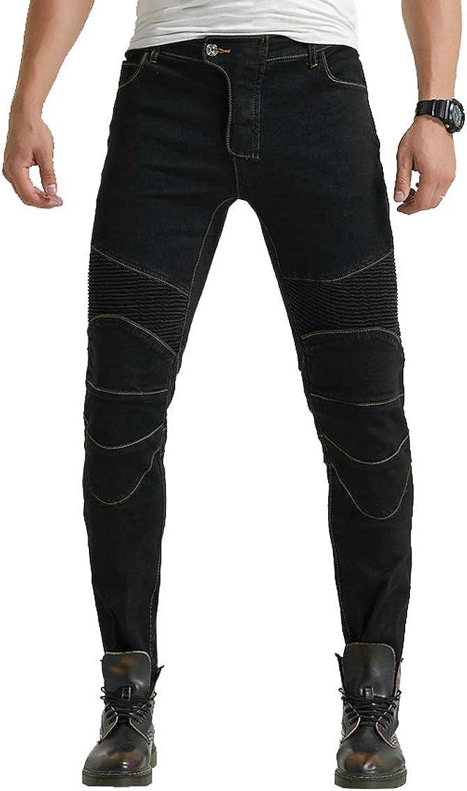 YuanDiann Mujer Jeans De Moto Pantalon Stretch Recto Anti-ca/ída Vaqueros De Moto Mezclilla Motociclista Proteccion Pantalon con 2 Protectores Rodilla y 2 Protectores Cadera